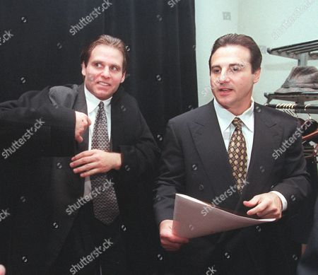 Stock Photo of MALOOF Joe Maloof, left, and Galvin Maloof, whose family once owned the Houston Rockets, leave a New York news conference, after presenting their bid to for a National Hockey league expansion franchise. Chuck Watson, owner of the Houston Aeros of the International Hockey League, was first of 11 groups from nine cities trying to convince the NHL they are worthy of joining the league as expansion teams. Watson was followed by Houston Rockets owner Leslie Alexander and a group headed by the Maloofs