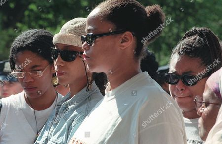 SHABAZZ Malikah Shabazz, left, Attallah, second from left, Malaak, third from left, and Gamilah, all daughters of Betty Shabazz, talk to the media outside the Jacobi Medical Center in the Bronx borough of New York, following the death of their mother on . Betty Shabazz, who built a family and a voice in the civil rights movement after her husband, Malcolm X, was assassinated, died Monday from burns suffered in a fire allegedly set by her grandson. She was 61