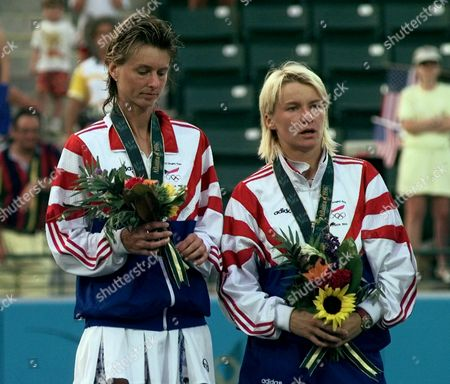 SUKOVA NOVOTNA The Czech Republic team of Helena Sukova, left, and Jana Novotna receive their silver medals at the Stone Mountain Tennis Center . The Czech Republic team was defeated by the American team of Mary Joe Fernandez and Gigi Fernandez 7-6, 6-4 at the Centennial Olympic games