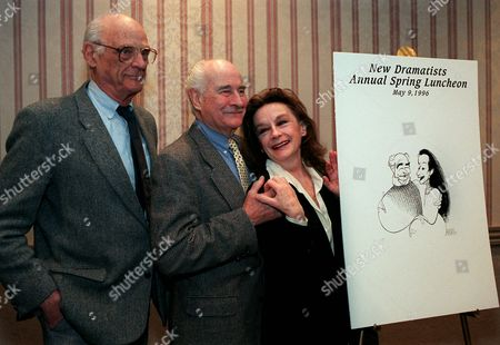MILLER CALDWELL WHITEHEAD Playwright Arthur Miller, left, Robert Whitebread, center, and Zoe Caldwell gather for the New Dramatists 47th Annual Benefit Luncheon in New York . Actress-director Caldwell and producer Whitehead were honored with the nation's oldest playwright workshop Lifetime Achievement Award