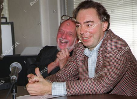 """WEBBER PRINCE Harold Prince, left, and Andrew Lloyd Webber, face reporters during a news conference in New York . The pair announced Webber's new musical, """"Whistle Down The Wind,"""" being directed by 20-time Tony Award winner Prince, will have it's world premier engagement at the National Theatre in Washington Dec. 12, 1996. The show is scheduled to begin performances in New York April 8, 1997, with the official Broadway opening night scheduled for April 17, 1997"""