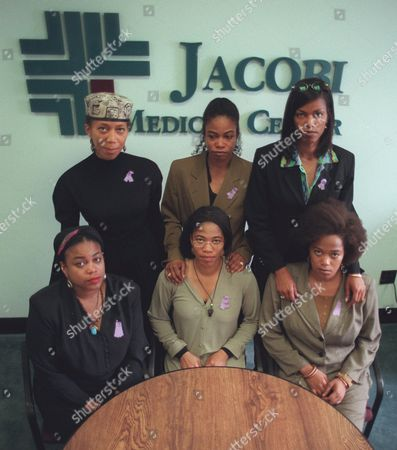 SHABAZZ Betty Shabazz's six daughters, including the mother of 12-year-old Malcolm Shabazz, pose for a photograph at Jacobi Medical Center in the Bronx, . The women, speaking at a news conference, thanked the world for its prayers offered for their mother who was burned Sunday in a fire allegedly started by her grandson Malcolm. Seated from left; Gamilah, Malikah and Malaak. Standing from left; Attallah, Qubilah and Ilyasah