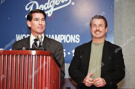 Former Dodger players Steve Garvey, left, and Ron Cey talk to the media at Dodger Stadium in Los Angeles, after an announcement that the pair will rejoin the organization. The pair will assist the team in community and marketing capacities while instructing younger players in the organization. Garvey and Cey played on the team in the 1970s along with Dodger manager Bill Russell and coach Reggie Smith