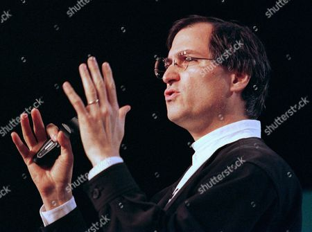 Stock Image of STEVE JOBS FILE--Steve Jobs, the chief executive of the animation company Pixar, speaks at the MacWorld trade show in San Francisco on Jan. 7, 1997. Jobs has turned down an offer to become Apple Computer Inc. s next chairman and chief executive officer, published reports said . Jobs said Apple s board of directors asked him three weeks ago, after the July 9 ouster of Gil Amelio, to head the company he co-founded in 1976