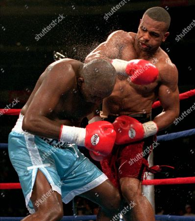 Stock Image of JONES MCCALLUM Roy Jones, from Pensacola, Fla., lands a punch to the head of Mike McCallum, from Kingston, Jamaica, during their WBC Light Heavyweight Title fight Friday night at the ice Palace in Tampa, Fla. Jones defeated mcCallum to win the belt