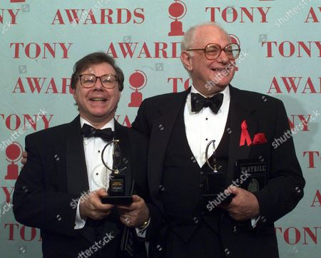 """YESTON STONE Tony Award winners Peter Stone, right, and Maury Yeston hold their awards at the 51st Annual Tony Awards at Radio City Music Hall, in New York. Stone won the Tony for Best Book of a Musical for """"Titanic"""" and Yeston won Best Original Score also for """"Titanic"""
