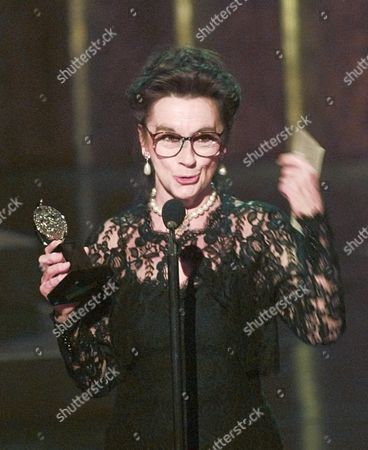 "CALDWELL Zoe Caldwell holds her award for Leading Actress in a Play for her role in ""Master Class"" at the 50th Annual Tony Awards in New York"