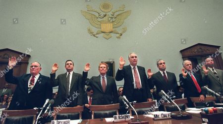 EIMEREN Former White House Travel Office Director Billy Dale, center, along with other former employees are sworn in on Capitol Hill prior to testifying before the House Government Reform and Oversight Committee hearing on their 1993 firings. From left are, Ralph Maughan, John Dretlinger, John McSweeney, Dale, Barnaby Brasseaux, Gary Wright, and Bob Van Eimeren