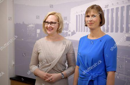 Estonian president Kersti Kaljulaid (r.) and Speaker of Parliament Maria Lohela (l.) meet in the Finnish Parliament
