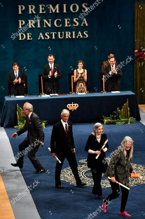 James Nachtway, Mary Beard, Nuria Espert, Richard Ford Writer Richard Ford of the US, left, leaves the auditorium beside, from bottom right, Britain's professor Mary Beard, Spanish actress Nuria Espert and photographer James Nachtwey of the US, at the end of the Princess of Asturias awards ceremony in Oviedo, northern Spain