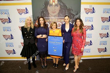 Diane Nelson (DC Entertainment Pres.), Lynda Carter, United Nations Under Secretary-General Cristina Gallach, Gal Gadot, Patty Jenkins (Director)