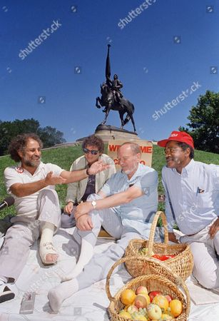 Abbie Hoffma, Paul Kasser, David Dellinge, Bobby Seal Abbie Hoffman, left, Paul Kasser, David Dellinger and Bobby Seale, left to right, reminisce on near a statue in Chicago?s Grant Park, the scene of many protests during the turbulent 1968 Democratic National Convention. The men will participate in a weekend conference to examine the historic convention twenty years later