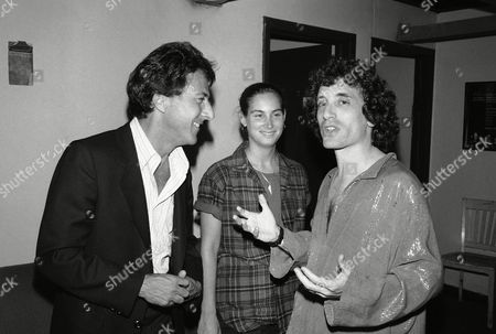 """Dustin Hoffman, Lisa Hoffman, Chip Zien Backstage at Playwrights Horizons after performance of """"March of the Falsettos"""" are Dustin Hoffman and his wife Lisa Hoffman chatting with Chip Zien who appears in the show"""