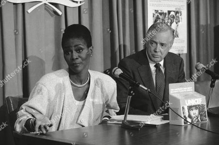 Cicely Tyson Actress Cicely Tyson, left, gestures during a news conference at the United Nations, . Hugh Downs, right, announced Miss Tyson will chair the 35th anniversary UNICEF Halloween campaign for 1985