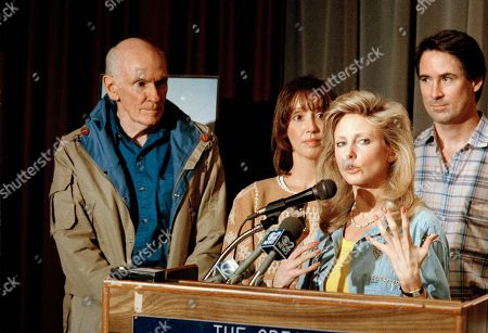 Morgan Fairchild, Alan Cranston, Kim Cranston, Shelley Duvall With Sen. Alan Cranston, left, actress Shelley Duvall, center and the Senator's son Kim Cranston, actress Morgan Fairchild gestures during a press conference in Los Angels, as she talks about the bill Cranston has introduced to create Death Valley, the Mojave Desert and Joshua Tree national parks