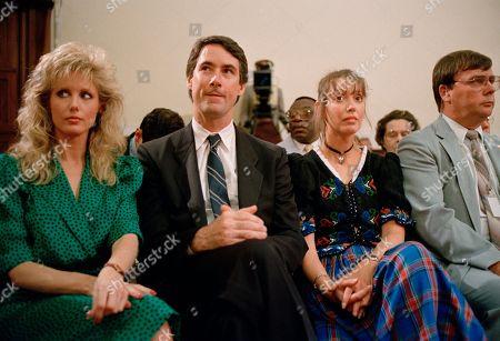 Morgan Fairchild, Kim Cranston, Shelley Duvall Kim Cranston, center, son of Sen. Alan Cranston, flanked by actresses Morgan Fairchild, left, and Shelley Duvall are among the spectators at the Iran-Contra haerings on Capitol Hill in Washington, D.C
