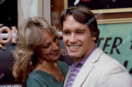 "Stock Image of Bergman Schwarzenegger Actor and body builder Arnold Schwarzenegger is seen with Sandahl Bergman, his co-star in the movie ""Conan the Barbarian,"" in Los Angeles"