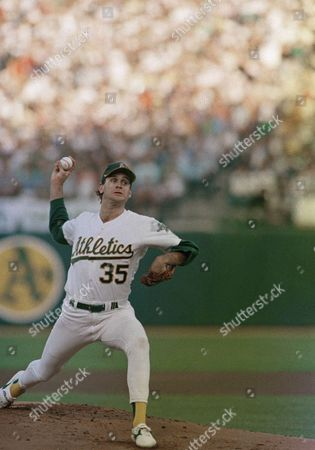 Oakland As pitcher Bob Welch hurls against the Los Angeles Dodgers during the first inning action of the third game of the World Series at Oakland Coliseum, Oakland, Calif