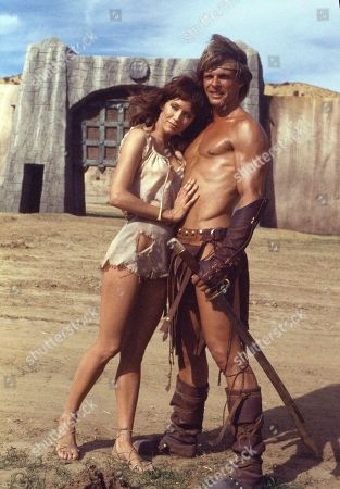 "Stock Photo of Tanya Roberts, Victoria Leigh Blum, Marc Singer Tanya Roberts stars as Kiri and Marc Singer as Dar, in the adventure movie ""The Beastmaster"