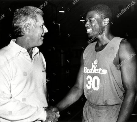 Bernard King, Kevin Loughery Kevin Loughery, head coach of the Washington Bullets basketball team, left, welcomes new arrival Bernard King, who signed wit the Washington Bullets as a Veteran Free agent on Oct. 16, 1987