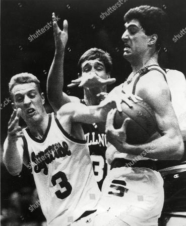 Seikaly Roe Syracuse's Rony Seikaly, right, battles teammate Matt Roe (3) and Villanova's Mark Plansky, center, for possession of the ball in first-period action at New York's Madison Square Garden in the Big East Conference championship game