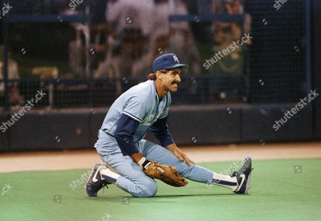 Stock Photo of Bill Buckner Kansas City Royals first baseman Bill Buckner grimaces after making a falling catch of a Jim Dwyer foul in the 4th inning in Minneapolis, Minnesota o, . The Royals beat the Minnesota Twins 8-1
