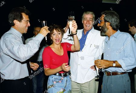 """Actress Kristy McNichol celebrates her 30th birthday on the set of the television show """" Empty Nest"""" with fellow actor Richard Mulligan, center, and executive producers of the show Tony Thomas, right and Paul Gunger Witt, left, in Los Angeles"""