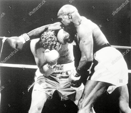 Earnie Shavers just misses with a big right hand during the second round action against Joe Bugner, at the Reunion Arena, in Dallas, on . Shavers stopped Bugner in the second round of their ten round bout after opening a cut above Bugner's left eye