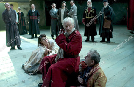 Monica Dolan, Ian McKellen and Sylvester McCoy - 'King Lear' by William Shakespeare directed by Trevor Nunn. King Lear played by Ian McKellen, his first RSC role in 17 years. played by Ian McKellen, his first RSC role in 17 years.