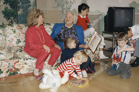 Mrs. Barbara Bush and her daughter-in-law Sharon Bush watch over her grandchildren on in Washington at the Blair House. From left are: Pierce Bush, 2; Lauren Bush, 12; Sam LeBlond, 4; and George P. Bush, 12. The Bush's are staying at the Blair House until they move into the White House