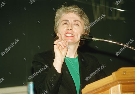 Camille Paglia, author of two books on sexuality, gestures while addressing a symposium on the origins of homosexuality at Harvard Medical School in Boston, . Paglia said she feared the study of homosexualtiy's basis would become political, not scientific