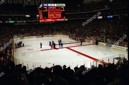 The Chicago Blackhawks hold a final farewell for the 65-year-old Chicago Stadium in Chicago, Ill., Thursday night, during a pre-game ceremony. Hall of Fame banners were lowered and given to Bobby Hull, Stan Mikita, Glenn Hall and Tony Esposito. The Blackhawks host the Toronto Maple Leafs. A new stadium is being built across the street