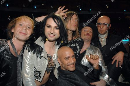 Stock Picture of Jepson, Ola Salo, Martin Axen, Leari, Sylvester Schlegel and Jens Andersson of The Ark who will compete for Sweden in Eurovision Song contest 2007