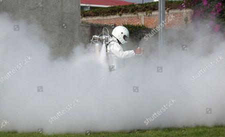 Editorial photo of Juan Manuel Lozano's invention of the rocket pack, Cuernavaca, Mexico City, Mexico - Apr 2007