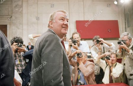 Edwin Meese Attorney General Edwin Meese III takes a mid-morning break after testifying before the congressional Iran-Contra committees on Capitol Hill in Washington on