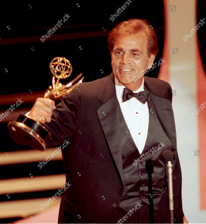 """Rocco Actor Alex Rocco holds up his Emmy award during his acceptance speech at the 42nd Annual Primetime Emmy Awards in Pasadena, Ca. on . Rocco won for best supporting actor in a television comedy series for his role in """"The Famous Teddy 2"""