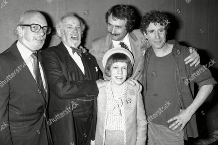 "Hal Prince, Harold Prince, Barnard Hughes, Linda Hunt, Arthur Kopit, John Shea Cast and crew of the Broadway production ""End of the World"" pose backstage after an opening night performance at the Music Box Theater, in New York. From left are: director Hal Prince, actor Barnard Hughes, actress Linda Hunt, writer Arthur Kopit, and actor John Shea"