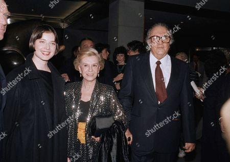 "Federico Fellini, Giulietta Masina, Isabella Rossellini Italian movie director Federico Fellini, right, his wife Giulietta Masina, center, and actress Isabella Rossellini are shown celebrating the opening of Fellini's movie ""Ginger and Fred"", New York"