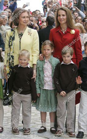 Queen Sofia and Princess Elena with guest, Princess Victoria Eugenia and Prince Pablo Nicolas