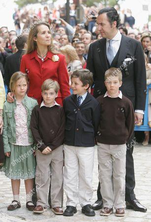Jaime de Marichalar with Princess Elena and children Princess Victoria Eugenia, Prince Pablo Nicolas, Prince Felipe Juan Froilan and Prince Juan Valentin