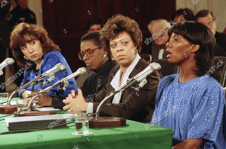 J. C. Alvarez, Nancy Fitch, Diane Holt, Phyllis Berry Former colleagues of Clarence Thomas, J.C. Alvarez, left, Nancy Elizabeth Fitch, second left, and Diane Holt listen to Phyllis Berry testify before the Senate Judiciary Committee on Capitol Hill in Washington, . Berry was a special assistant to Thomas at the EEOC