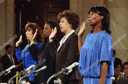 J. C. Alvarez, Nancy Fitch, Diane Holt, Phyllis Berry Former colleagues of Judge Clarence Thomas are sworn in before the Senate Judiciary Committee on Capitol Hill in Washington, . From left are: J. C. Alvarez, Nancy Fitch, Diane Holt, and Phyllis Berry