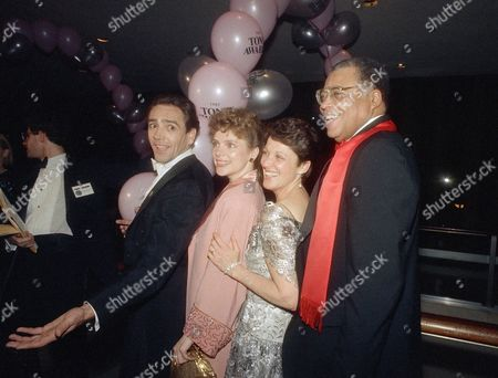 Celebrating at a party in New York after receiving their Tony Awards are, from left: Robert Lindsay, best actor in a musical; Maryann Plunkett, best actress in a musical; Linda Lavin, best actress in a play; and James Earl Jones, best actor in a play