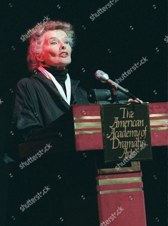 HEPBURN Actress Katharine Hepburn is shown speaking in this photo at a special tribute in New York to the late actor Spencer Tracy