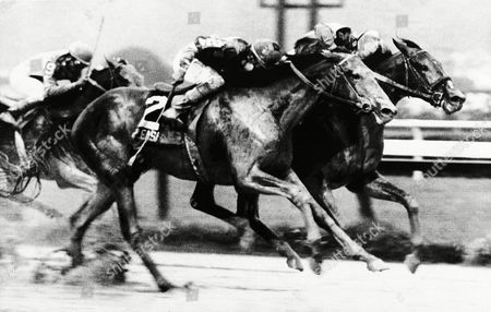 Willows Hour (3) takes to the rail, guided by jockey Eddie Maple, to win the 112th running of the Travers at Saratoga Racecourse in Saratoga Springs, New York on . Placing, on the outside, is Pleasant Colony (2), with Angel Cordero Jr. up. Willow Hour won the $226,000-race by a head