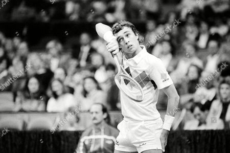 Ivan Lendl Ivan Lendl of Czechoslovakia wipes the sweat from his eyes as he prepares to receive a serve from Wojtek Fibak of Poland in World Championship Tennis finals in Dallas on
