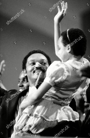 Jesse Jackson, Santita Jackson The Rev. Jesse Jackson triumphantly holds his waving daughter Santita aloft at the podium following his moving political sermon to the Democratic National Convention in San Francisco on