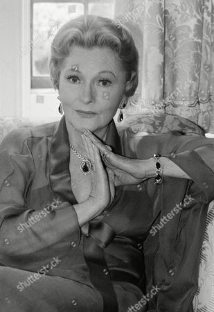 Actress Joan Fontaine poses for photographer in April 1985 in Beverly Hills on the set of her latest role, that of a shipping family matriarch. The dramatic film character is the first in several years for the veteran actress