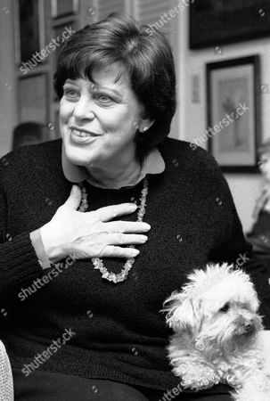Actress Kaye Ballard gestures during a recent interview in her New York apartment, while her dog, Big Shirley, sits on her lap. Ballard has gathered her experiences of nearly 40 years of show business ups and downs into a one-woman show called ?Hey Ma...Kay Ballard,? which opens at the off-Broadway Promenade Theater