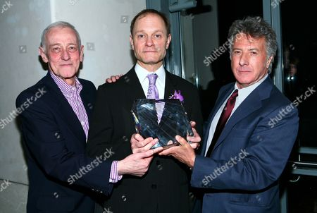 John Mahoney, David Hyde Pierce, and Dustin Hoffman attending the launch party for the new ad campaign for the Alzheimer's Associaton at the Top of The Rock in New York City.